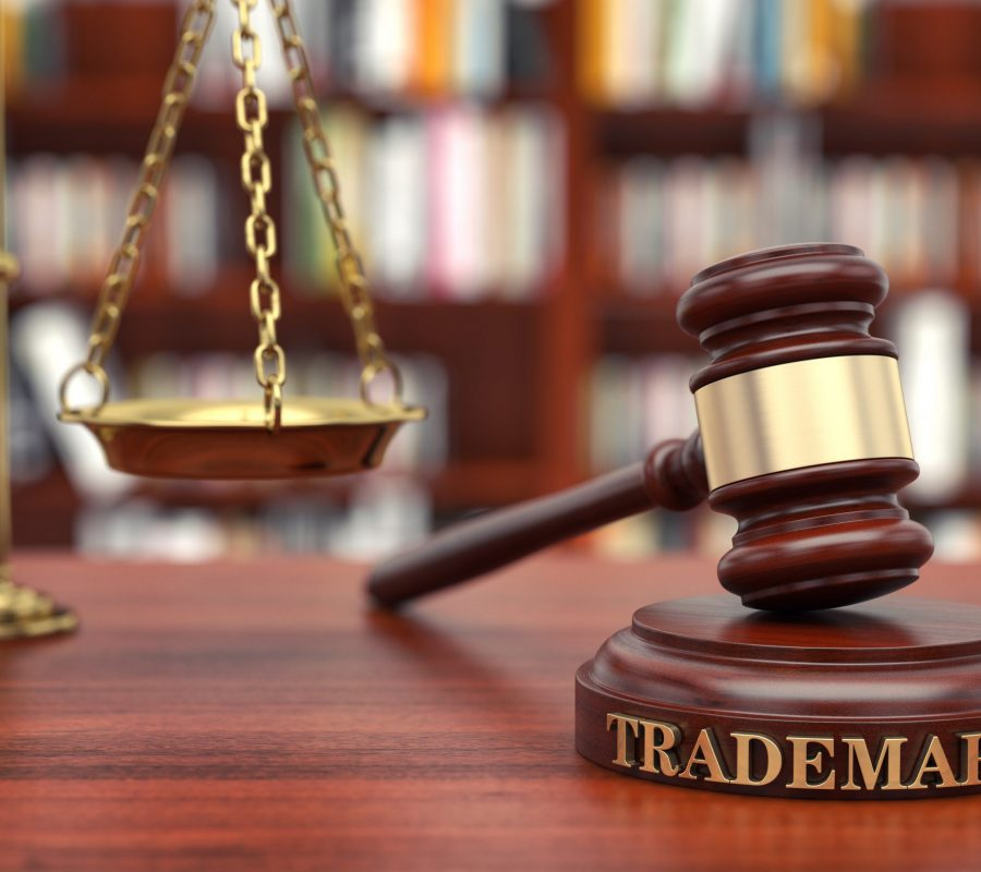 Trademark Law. Gavel and word Trademark on sound block